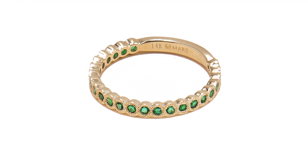 14K Yellow Gold Milgrain Bezel Emerald Ring