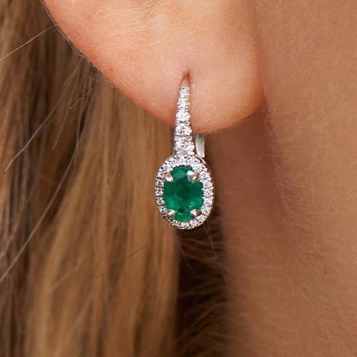 18K White Gold Petite Drop Oval Halo Emerald And Diamond Earrings