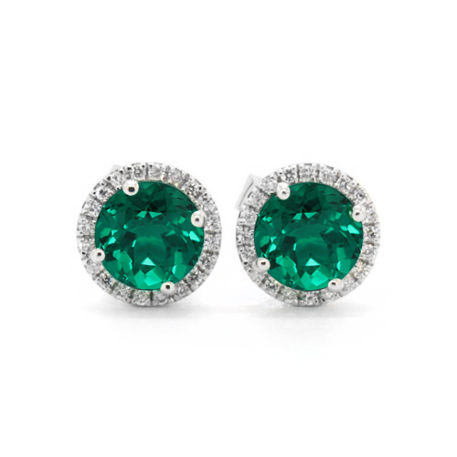 18K White Gold Round Halo Emerald And Diamond Earrings