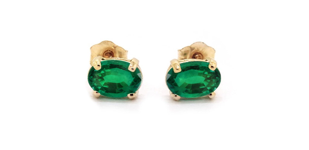 14K Yellow Gold Oval Emerald Birthstone Earrings