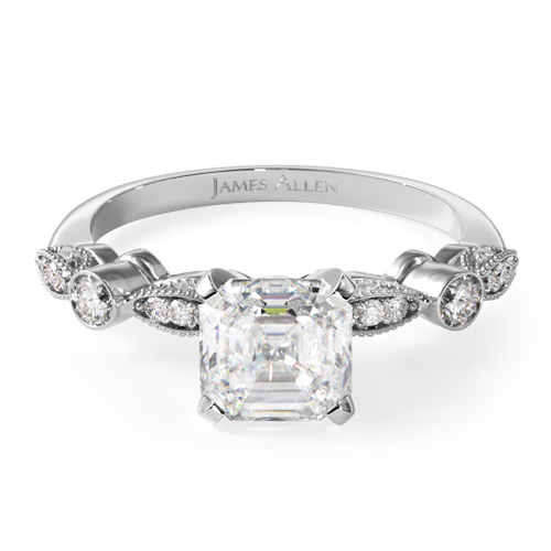 14K White Gold Antique Bezel And Pavé Set Engagement Ring