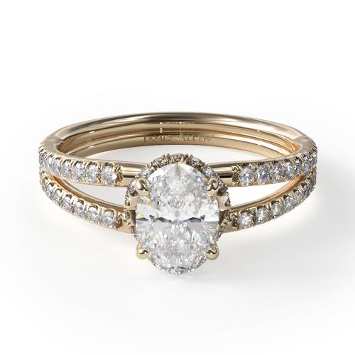 14K Yellow Gold Split Shank Ribbon Engagement Ring