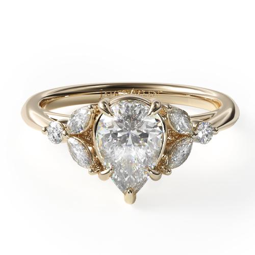 14K Yellow Gold Laurel Leaves Diamond Engagement Ring
