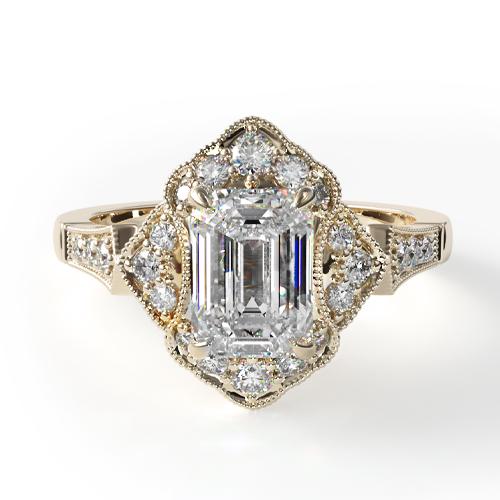 18K Yellow Gold Regal Frame Diamond Engagement Ring