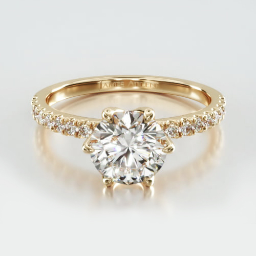 Petite U Shaped Pavé Engagement Ring Embellished With a Scalloped Six Prong Head