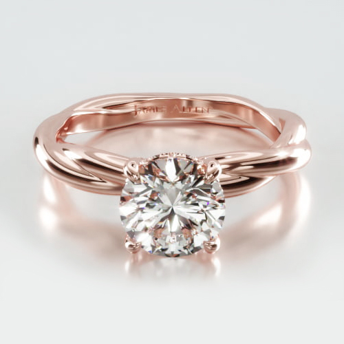 Rope Solitaire Engagement Ring Embellished With a Classic Pavé Basket Head