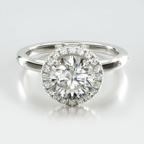Sleek Accent Diamond Engagement Ring Embellished With a Single Row Pavé Halo Head
