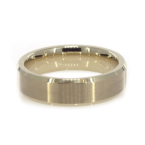 Yellow Tungsten Carbide 6MM Bevel Edge Band By TRITON