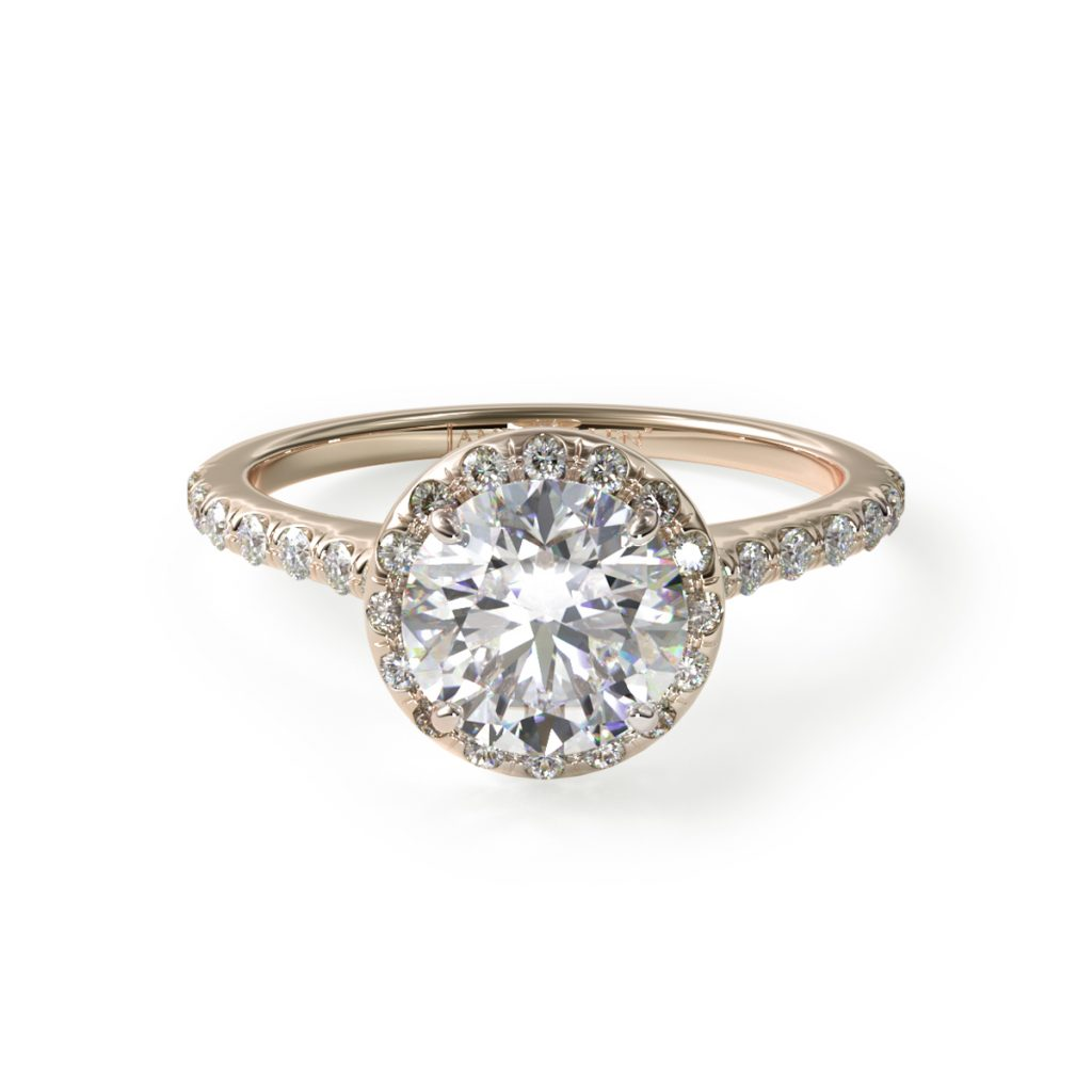 14K Yellow Gold Pavé Halo And Shank Diamond Engagement Ring (Round Center)