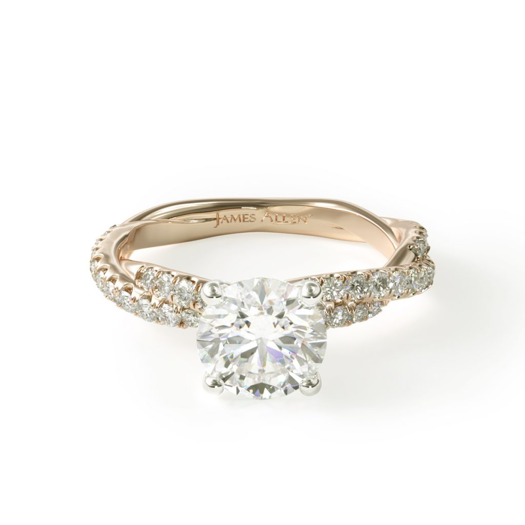14K Yellow Gold Pavé Twist Diamond Engagement Ring