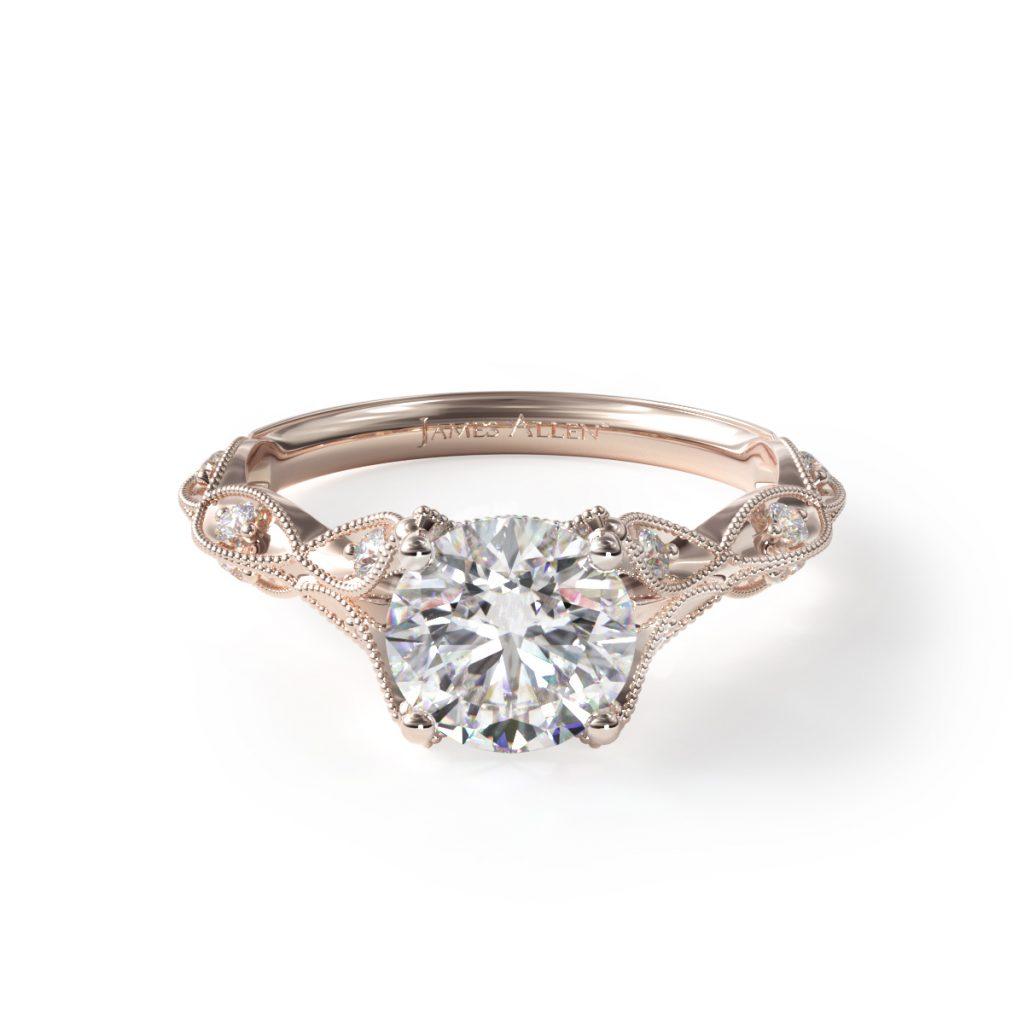 14K Rose Gold Milgrain Navette Engagement Ring