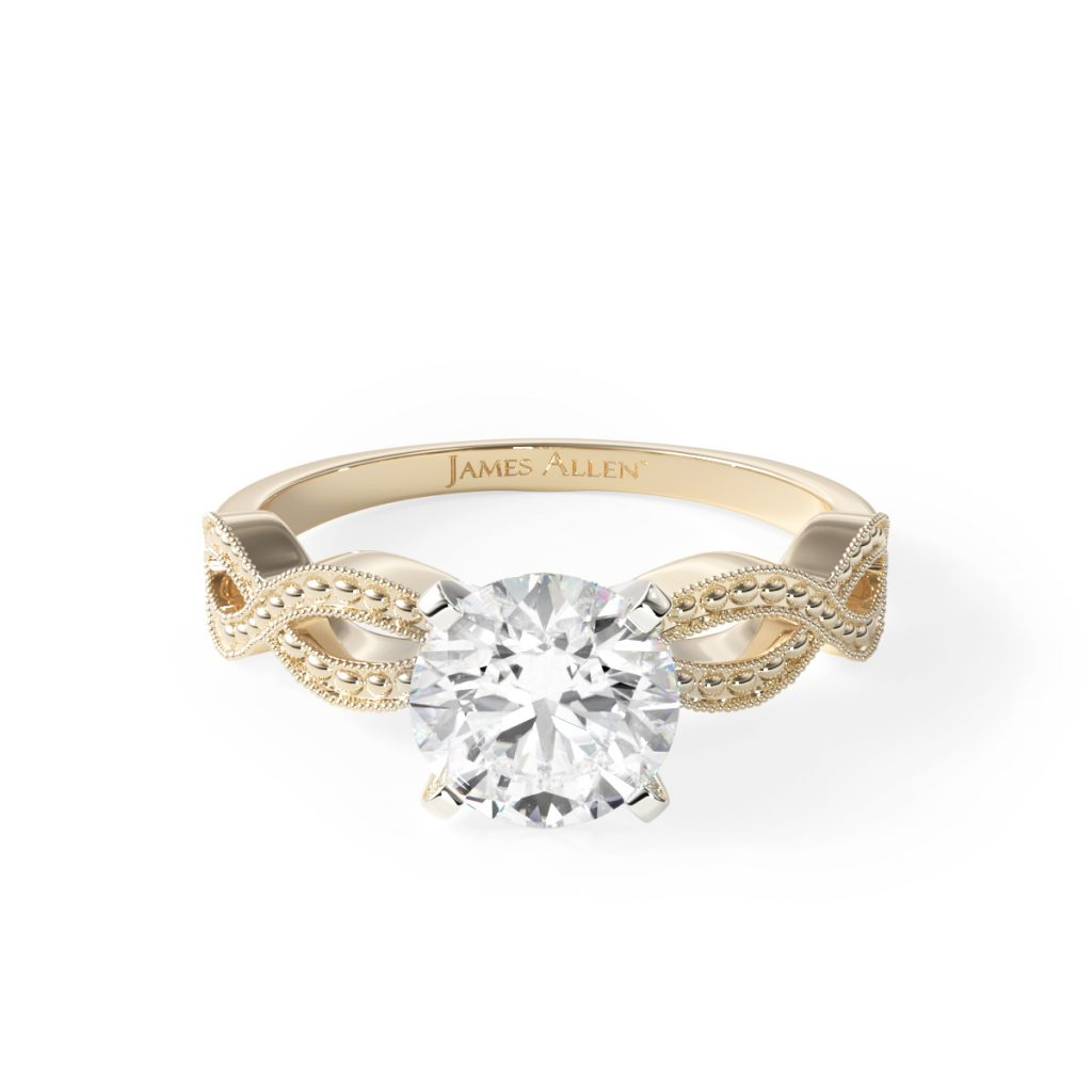 14K Yellow Gold Vintage Infinity Engagement Ring