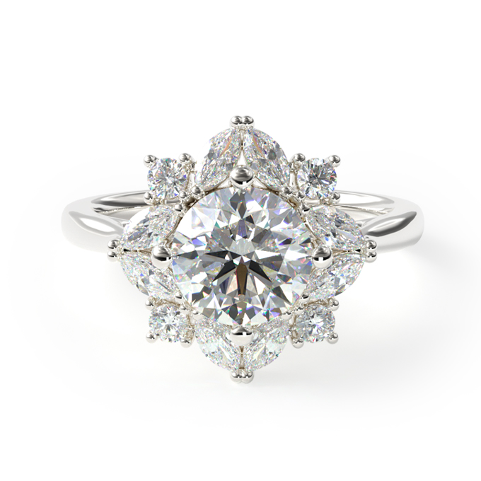 14K White Gold Marquise Cluster Halo Diamond Engagement Ring