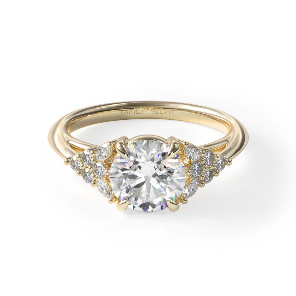 14K Yellow Gold Diamond Chevron Knife Edge Engagement Ring