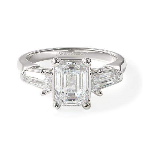 14K White Gold Tapered Baguette Three Stone Diamond Engagement Ring