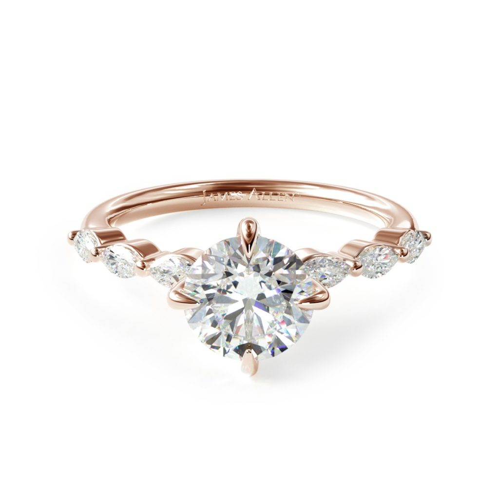 14K Rose Gold Shared Prong Marquise Side Stone Diamond Engagement Ring