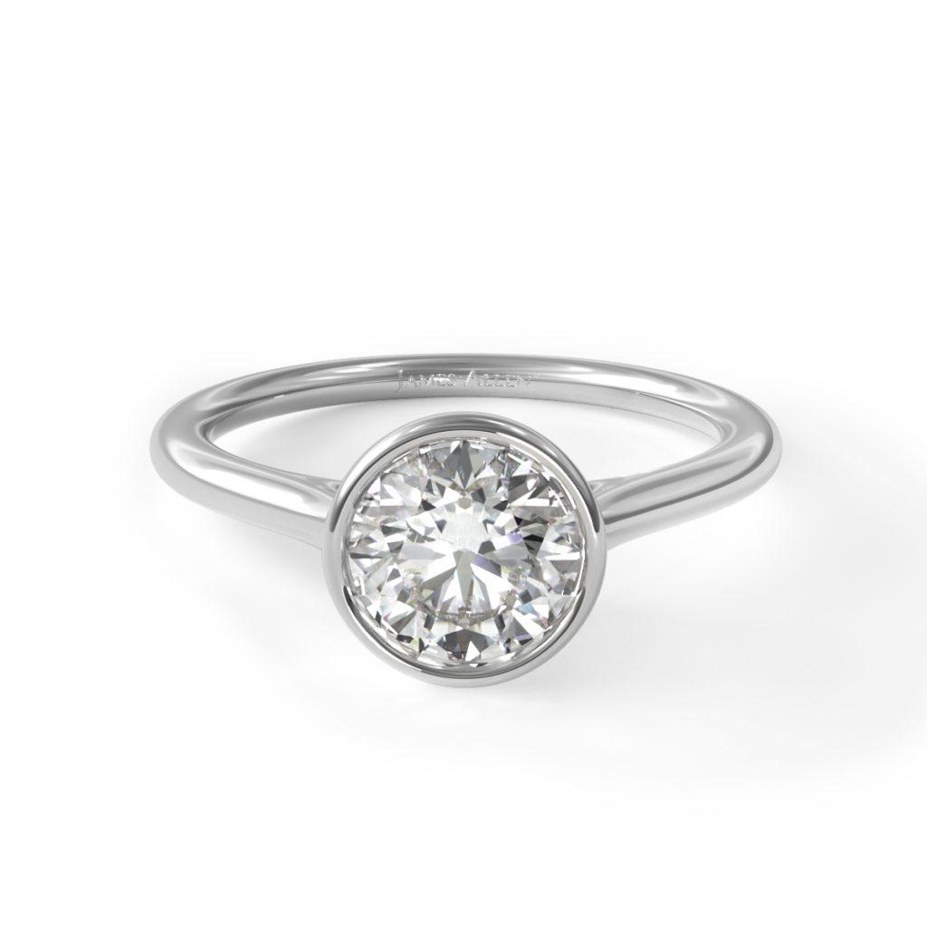 14K White Gold Comfort Fit Bezel Set Solitaire Engagement Ring