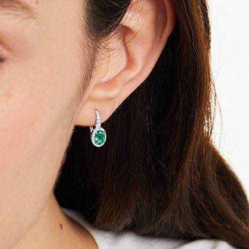 emerald and diamond earrings - gemstone jewelry