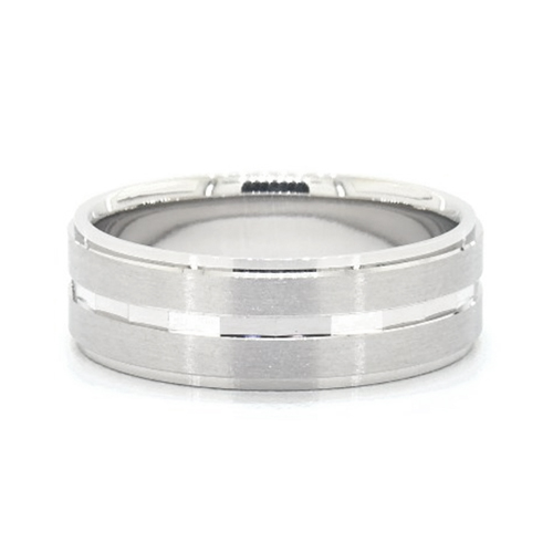 Platinum Satin Finish And Faceted Center Groove Comfort Fit Band