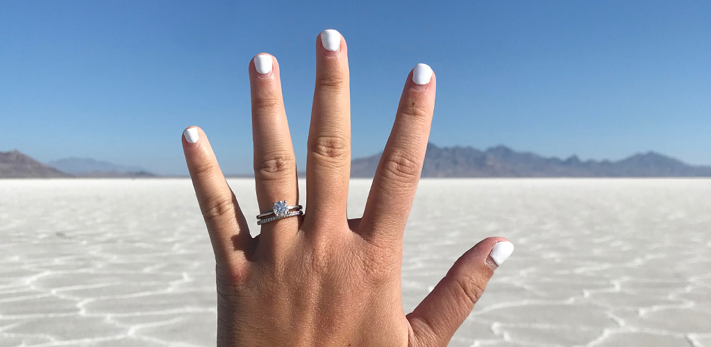 Summer Proposal In The Desert With A Diamond Engagement Ring