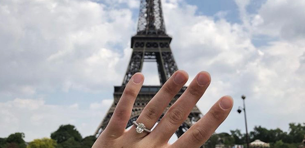 Summer Proposal And Diamond Engagement Ring In Front Of The Eiffel Tower