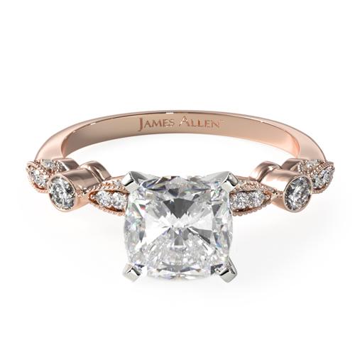 14K Rose Gold Antique Bezel And Pavé Set Engagement Ring
