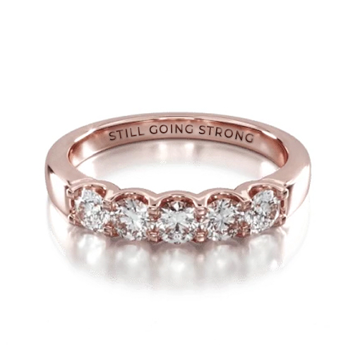 14K Rose Gold Five Stone Shared Prong Contour Diamond Ring (0.50 CTW - H-I / SI1-SI2)