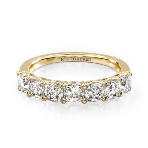 14K Yellow Gold Seven Stone Cushion Shape Diamond Ring (1.00 CTW - H-I / SI1-SI2)