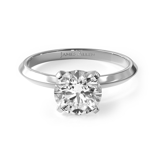 14K White Gold Knife-Edge Solitaire Engagement Ring