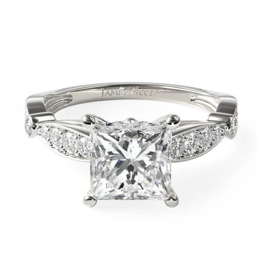 14K White Gold Embossed Diamond Engagement Ring