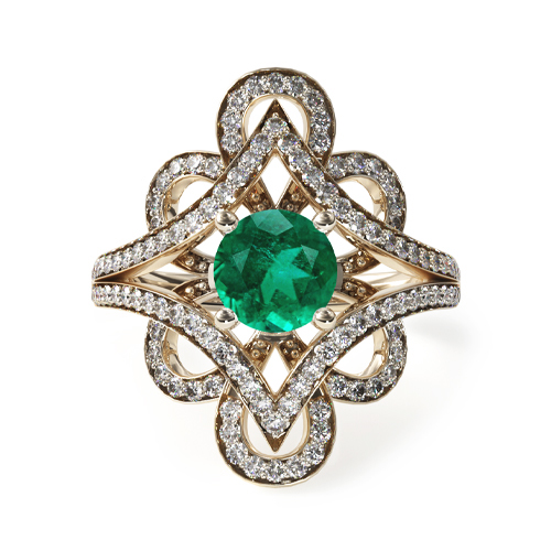 1.78 Carat Round Natural Green Emerald Soft Floral Diamond Engagement Ring