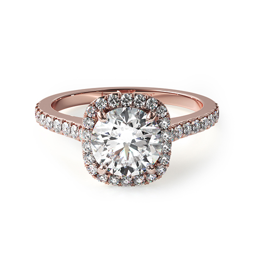 14K Rose Gold Cushion Outline Pave Engagement Ring