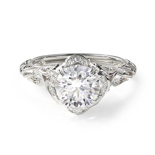 14K White Gold Diamond Filigree Engagement Ring