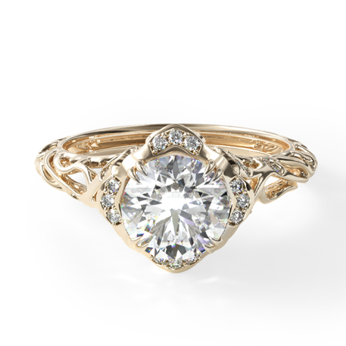 14K Yellow Gold Diamond Filigree Engagement Ring