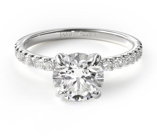 14K White Gold Petite Pavé Crown Diamond Engagement Ring
