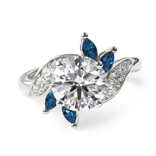 14K White Gold Bird Of Paradise Engagement Ring