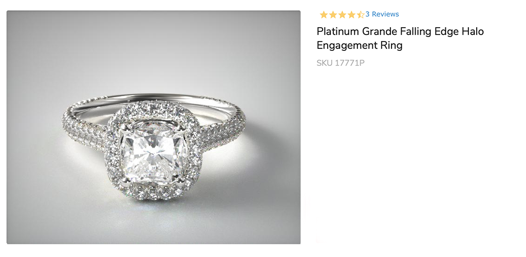 Platinum Grande Falling Edge Halo Engagement Ring