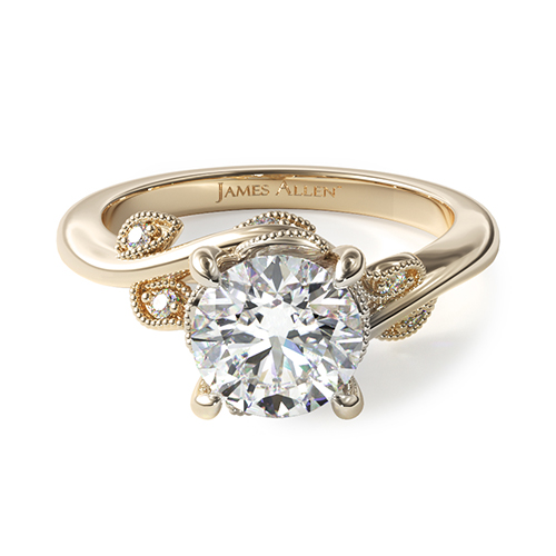 14K Yellow Gold Entangles Vines Engagement Ring