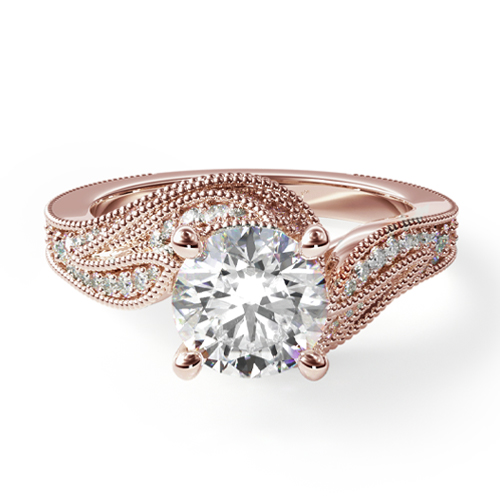 14K Rose Gold Nature Inspired Pavé Diamond Bypass Engagement Ring