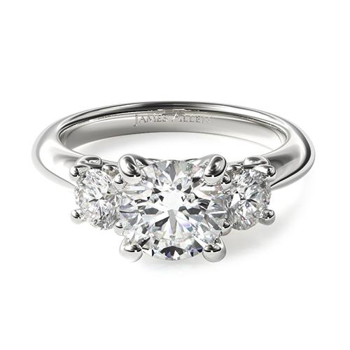 14K White Gold Three-Stone Diamond Engagement Ring