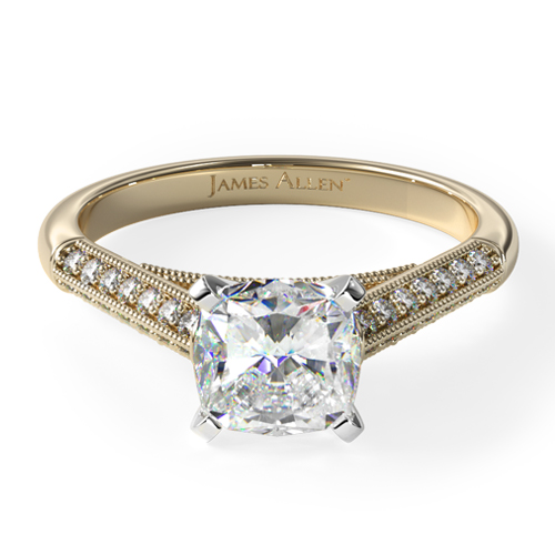 14K Yellow Gold Pavé Knife Edge Cathedral Diamond Engagement Ring