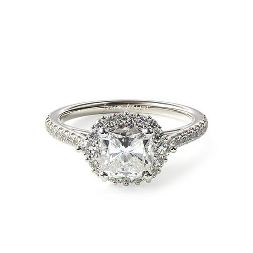 Platinum Cathedral Pavé Halo Diamond Engagement Ring