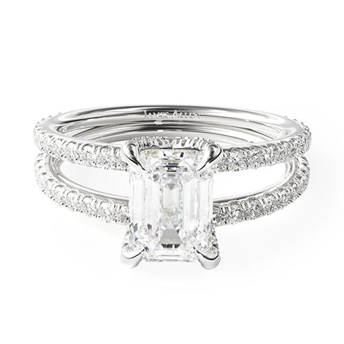 14K White Gold Pavé Split Shank Contour Diamond Engagement Ring