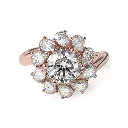 14K Rose Gold Pear-Cut Diamond Halo Engagement Ring