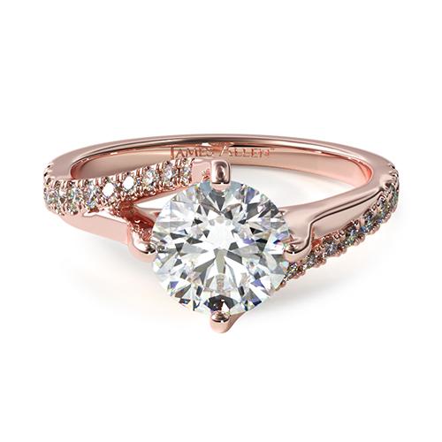 14K Rose Gold Bypass Pave Kite-Set Engagement Ring