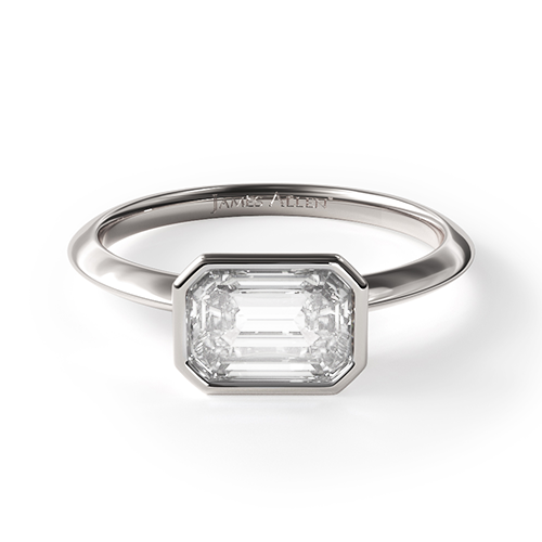14K White Gold East-West Bezel-Set Engagement Ring
