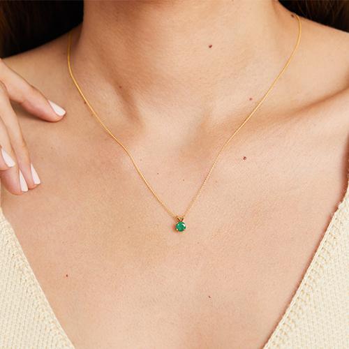 14K Yellow Gold Emerald Birthstone Necklace
