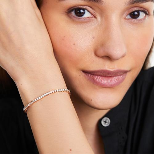 14K White Gold Bezel Diamond Tennis Bracelet (2 CTW - H-I / SI1-SI2)