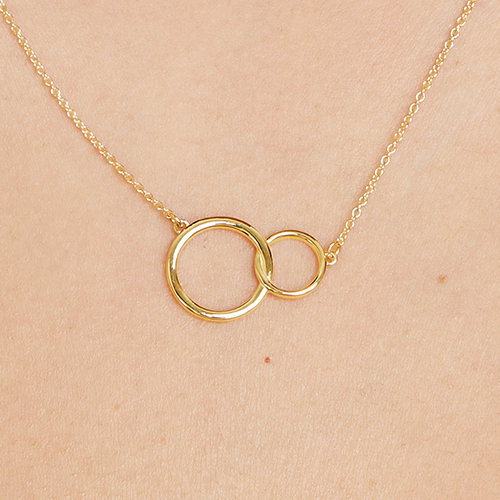 14K Yellow Gold Interlocking Rings Necklace