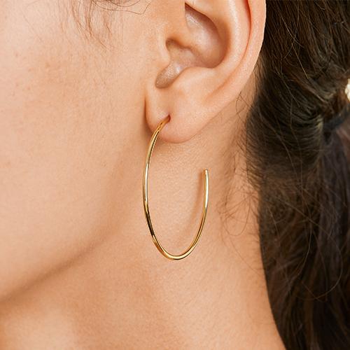 14K Yellow Gold 1.5 Inch Hoop Earrings